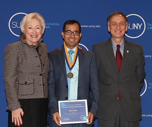Bikash Regmi, SUNY Chancellor Zimpher, and Bahgat Sammaki, SUNY Poly Interim President