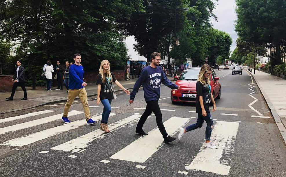 Liam and friends cross Abbey Road in London