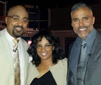 Nicole with former NBA players and sports analysts Dennis Scott and Rick Fox